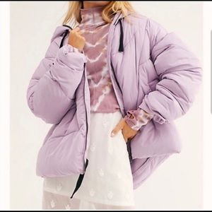 Free People Lilac Hailey Hooded Puffer Coat Sz XL